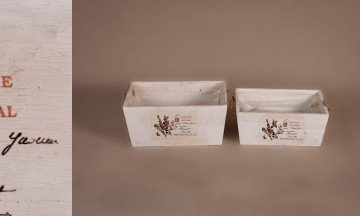 Set of 2 Wooden Flower Pot