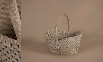 Cesta full rattan color patinado blanco-gris