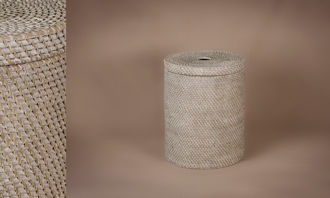 Cesto ropero full rattan color patinado blanco-gris