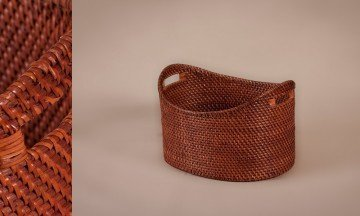 Cesto oval full rattan color nogal