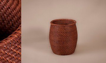 Cesto redondo full rattan color nogal