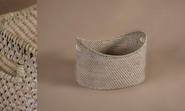 Cesto oval full rattan color patinado blanco-gris