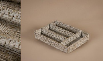 Cucharero rattan bamboo color patinado blanco-gris