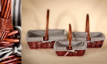 wicker basket brown paint whit fabric