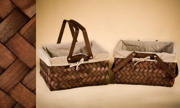 Wooden Basket with Fabric
