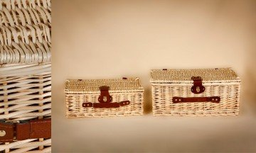 natural wicker suitcase with leather handles