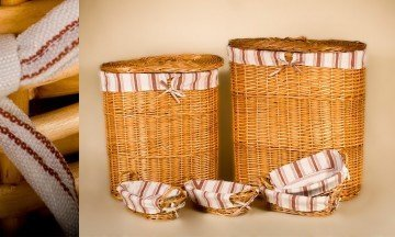 Set of 2 Laundry basket and 4 wicker containers
