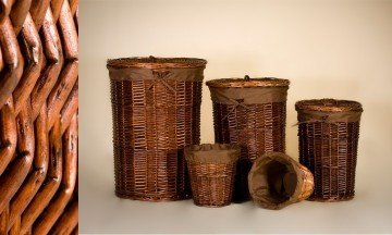 Set of 3 Laundry basket and 2 wicker containers