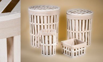 Set of 2 Laundry basket and 2 wicker containers
