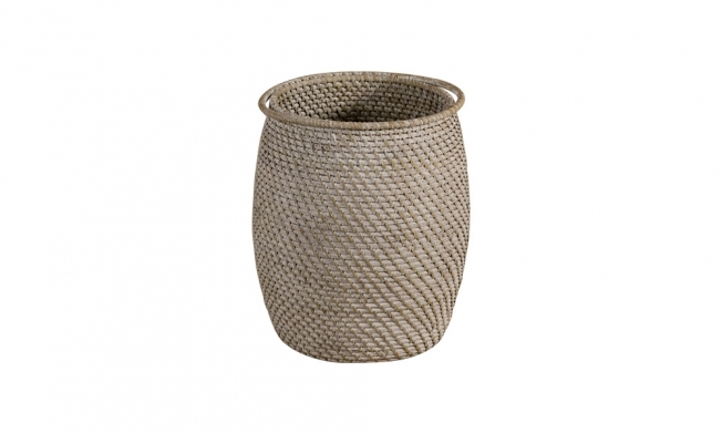 Cesto redondo full rattan color patinado blanco-gris