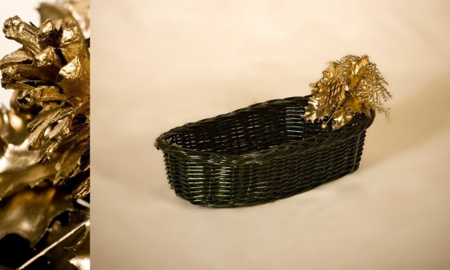 Wicker Tray green color